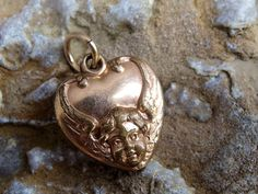 Victorian Rose Gold Fill Repousse Angel Puffy Heart Charm or Pendant, Embossed Cherub Head and Wings, Plain Back , Some Wear, Still Lovely by postGingerbread on Etsy