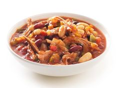 Pork Chili : Sauté onions and peppers until soft, add chili powder and some chopped canned tomatoes, stir in some pork and canned or cooked dried beans, then heat through.