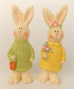 Sweater Bunny Figurine - Set of Two #zulily #zulilyfinds