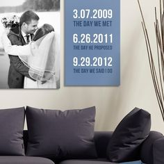 Celebrate your special wedding day with a custom word art canvas, and match it with a photo-on-canvas for a look that's all your own! Find at GreatBIGCanvas.com