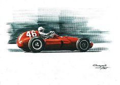 1955 Ferrari 555 Supersqualo  Jean Marie Behra  Cesare Perdisa  Ferrari F1 collection ART by Artem Oleynik. This collection demonstrating Ferrari F1 racing cars since 1950 to 2016 and includes 96 pictures in oil on canvas. The size of each original picture is 25 x 35 cm.