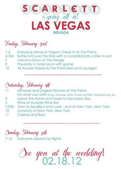 even the colors match ;) Custom Vegas Bachelorette Invitation/Itinerary by anniebpaperie, $45.00