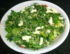 Keeping it green! Shredded cabbage, cos lettuce, chopped parsley, bean sprouts all topped with brie cheese dressed in olive oil, salt and red wine vinegar!
