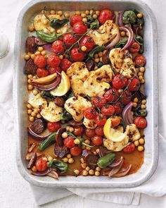 An easy, one-pan traybake using spicy chorizo, salty halloumi and robust chickpeas. To make it a more filling meal, serve with flatbreads to soak up the juices. Tray Bake Recipes, Veggie Recipes, Vegetarian Recipes, Cooking Recipes, Healthy Recipes, Chorizo Recipes, Traybake Dinner, Spiced Cauliflower, Cauliflower Steaks