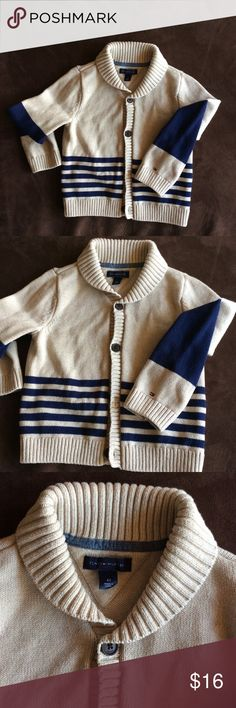 4T TOMMY HILFIGER tan&navy cardigan In brand new condition. This tan and navy cardigan its knitted. Smoke free pet free home. Tommy Hilfiger Shirts & Tops Sweaters