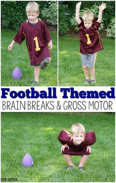 Football activities! These football movement and physical activity ideas are perfect for a classroom, preschool gross motor, physical education, PT, OT, or SLP. The football theme makes it fun for fall or autumn gross motor and brain break ideas! They also are a great addition to the Super Bowl. The kids love them year round! #brainbreaks #grossmotorideas #preschoolgrossmotor #football #SuperBowl