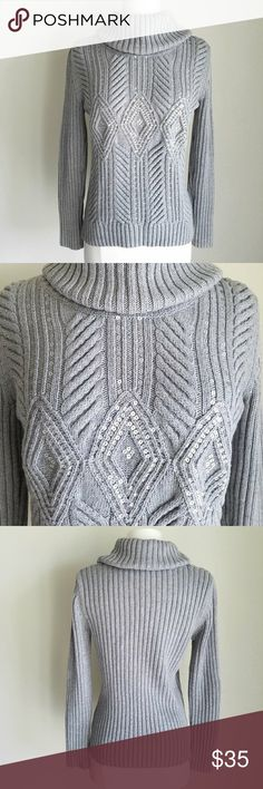 "🆕 Talbots Gray Sequin Ribbed Turtleneck Sweater Gray ribbed sweater with diamond pattern on front in sparkling silver sequins. Cozy turtleneck. Petite size small. Thin to medium-weight warmth. Length- 23"", Sleeve length (shoulder seam to cuff)- 23"", Bust (before stretched)- 34"", Waist (before stretched)- 32"", Hip (before stretched)- 31"". Hand wash, line dry. 55% cotton, 20% nylon, 15% wool, 10% polyester. EXCELLENT used condition Talbots Sweaters Cowl & Turtlenecks"