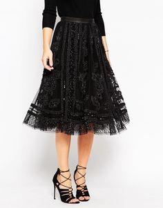 Image 4 of Needle & Thread Embellished Tulle Lace Midi Skirt