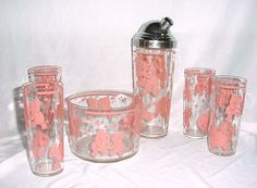 50's pink elephant bar ware