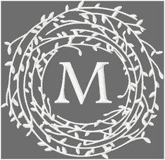 Twig wreath monogram frame border, machine embroidery design comes in 4x4, 5x5, 6x6, 7x7