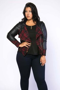 Plus Size Plaid Faux Leather Motto Jacket