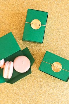 DIY emerald and gold paper boxes for party favors. I know a lot of pins come from wedding blogs, but these could also be used for organizing small things, snacks for coworkers, etc. Just think 'inside' the box. What would you put in yours?