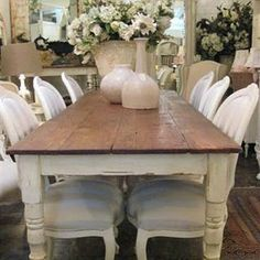 This Is So Totally What I Want My Dining Room To Look Like Farmhouse Table And Fancy Chairs Reupholster Grandmothers Distress Her Farm