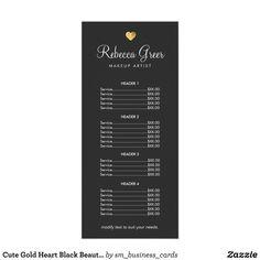 Cute Gold Heart Black Beauty Salon Price List Menu