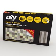 DIY Tile Backsplash Kit Bamboo comes with peel & stick glass mosaic tiles, 2 bags of pre-mixed grout; trim pieces to finish the edges, and tools. Diy Tile Backsplash, Peel N Stick Backsplash, Peel And Stick Tile, Stick On Tiles, Herringbone Backsplash, Travertine Backsplash, Tiling, Diy Tiles, Backsplash Arabesque