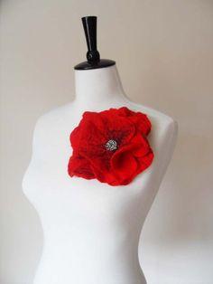 Large Felt Poppy Brooch red Felt Flower Brooch by softadditions, £16.00