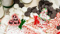 Candy Cane Chocolate Bark Lollipops