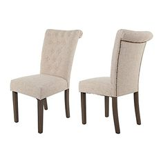 Buy Merax Luxurious Fabric Dining Chairs with Solid Wood Legs Set of 2 (Beige) - Topvintagestyle.com ✓ FREE DELIVERY possible on eligible purchases