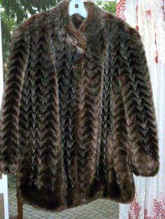 JORDACHE Vintage Faux Fur Coat Brown & White Womens USA  L XL #Jordache #BasicCoat #Outdoor