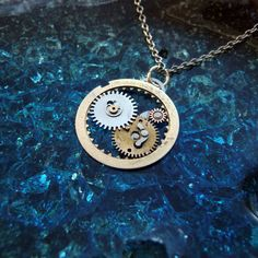 necklace coppertronic gears jewelry pendant steampunk upcycled art