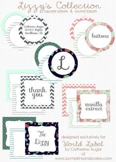 """These special """"Lizzy's Collection of round and square labels"""" are designed by Catherine Auger of  pumpkinsandposies.com Labels are in printable PDF templates and are editable. Download for free. Use for favors, envlope seals, tags, pantry labels, gift tags and much much more…From worldlabel.com"""