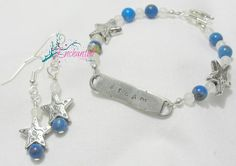 Lapis Lazuli and Italian Onyx bracelet and earring set ~ Always remember to dream <3 https://www.etsy.com/listing/248553520/dream-personalized-hand-stamped-bracelet
