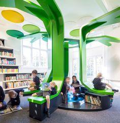 New children school interior library design ideas School Library Design, Kids Library, Modern Library, Classroom Design, School Libraries, Public Libraries, Library Ideas, Teen Library Space, Library Corner