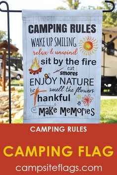 """Campsite Flag """"Camping Rules"""" This campsite flags let's everyone know the rules for your campsite?Are you looking for rv camping flags with a great camping meme? A simple illustration with a board style background and the saying """"Camping Rules""""."""