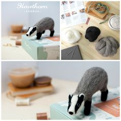 Learn how to needle felt this crafty Badger using British felting wool. Follow the step by step photo instructions and use the included felting needles to stab the wool to life. Photo Credit: Holly Booth £17.45 Needle Felting Kits, Needle Felting Tutorials, Needle Felted Animals, Wet Felting, Felt Animals, Knitted Stuffed Animals, Coloring Book Art, Teacher Favorite Things, Life Photo