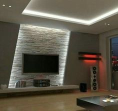 Wohnzimmer Tv Wand Design - - Albyna F - Soaking Tubs Home Lighting Design, Ceiling Design, Wall Design, House Design, Design Design, Lighting Concepts, Design Ideas, Ceiling Ideas, Interior Lighting