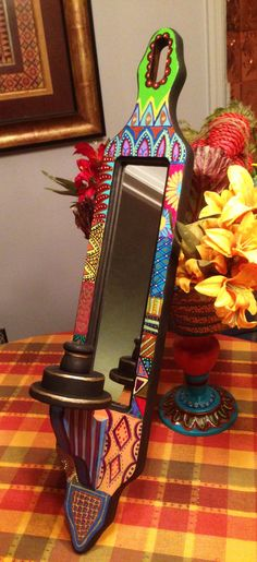 """Hand Painted Bohemian Tall Wood Wall Sconce Candle Holder With Mirror For Home or Office 24""""Hx4""""Wx5""""D  W0072"""