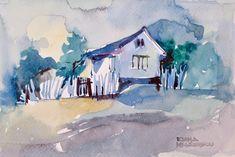 Ioana Mihăiescu - Peisaj rural / Rural scape, 40 x 30 cm, acuarelă / watercolour Romania, Painters, Watercolour, Contemporary, Artwork, Pen And Wash, Watercolor Painting, Work Of Art, Auguste Rodin Artwork