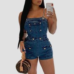 Material Denim Style Work Pattern Type Solid Fit Type Skinny Elastic Yes(Elastic) Bust(cm) Waist(cm) Hip(cm) Pants Length(cm) Weight Denim Fashion, Love Fashion, Womens Fashion, Fashion Design, Stylish Outfits, Cool Outfits, Blue One Piece, Backless Jumpsuit, Wholesale Clothing