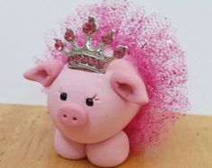 Pink Princess Pig Ornament or Cake Topper with Pink Tutu and Crown Pig Crafts, Clay Crafts, This Little Piggy, Little Pigs, Pig Baby Shower, Mini Pigs, Pink Sparkly, Cute Pigs, Clay Ornaments