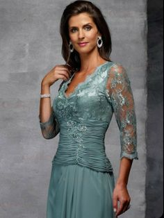 A-Line Princess V-neck Chiffon Lace Mother Of the Bride Dress