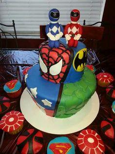 Super hero splits Cake.  Old school Power Rangers, Spiderman, Batman, Captain America, Hulk. With cupcakes in Superman, Ironman and new school Power Rangers www.cakesbykimberly.biz www.facebook.com/CakesByKimberlyRitter