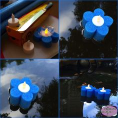 DIY floating tea lights - Wrap the battery operated tea lights in plastic wrap and place the wrapped tea lights in slices of a pool noodle. You can string the floating lights together as well.