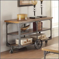 1Pc Rustic TV Stand Media Console Table Contemporary Antique Country Wheels Cart #WildonHome #Contemporary