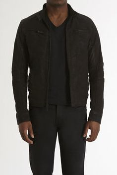 Washed Leather Cafe Racer Jacket - Rogue