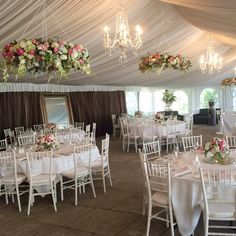 Hanging florals in Ravensthorpe marquee