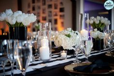 black and white stripes, polka dots and urban glam - blog - zest floral and event design