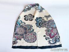 Hand Painted Silk Scarf Mandala scarf Batik Silk Painting Chiffon Handpainted Scarf Gift for Her Handmade scarf Luxurious scarf Women gift An elegant Mandala and Paisley silk chiffon scarf with dark red, bordeaux, navy, colors, lined with dark navy color stripe and white (ìvory)