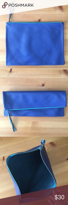 """Blue leather pouch West Elm leather pouch. 10"""" x 14"""" with heavy duty zipper. Fits 13"""" laptop snuggly. west elm Bags"""
