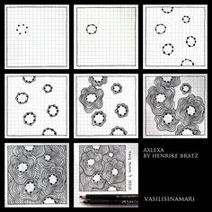 """VASILISINAMARI zentangle tutorial pattern """"AXLEXA"""" (узор зентангл)"""