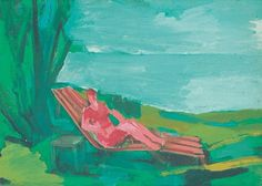 Bernáth Aurél (Marcali, 1895 - Budapest, Lady resting on the deck-chair Deck Chairs, Budapest, Lady, Green, Pink, Painting, Beach Chairs, Lawn Chairs, Office Desk Chairs