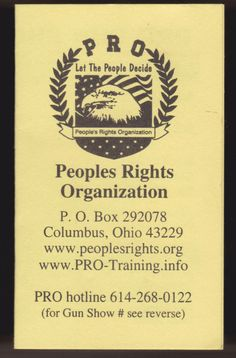 2006-07 OHIO PEOPLES RIGHTS ORGANIZATION PRO GUN SHOW POCKET SCHEDULE #Schedule
