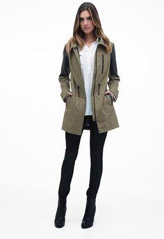 Danier Official Store, Clara Brushed Canvas And Lamb Leather Jacket, light khaki black, Women, 103050040