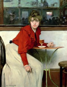 """This striking painting, """"At the Moulin De La Galette or La Madeleine"""", by Ramon Casas i Carbó, was completed in Casas was a Spanish painter, born in Barcelona in He was known for his. Art Nouveau, Art Deco, Ramones, Edouard Manet, Spanish Artists, Spanish Painters, Le Moulin, Galette, Figure Painting"""