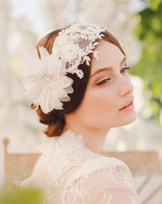 Lace headband with flowers. 1920 style modern strait hair. Jannie Baltzer's 2014 Collection - Inspired by Nature