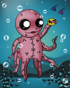 """Unlucktapus"" - his strange little creature found a skellie in the water and is very happy. #unluckables #luckycharm #monster #monsterart #creature #creatureart #voodoodoll #voodoo #kristiesilva #octopus #seacreature #sea #skull #fish #artist #artwork #drawing #lowbrow #lowbrowartist #lowbrowart #lowpopartists #bigeyes #bigeyeart #bigeyedart #digitalpainting #digitalart #art #digital #painting"